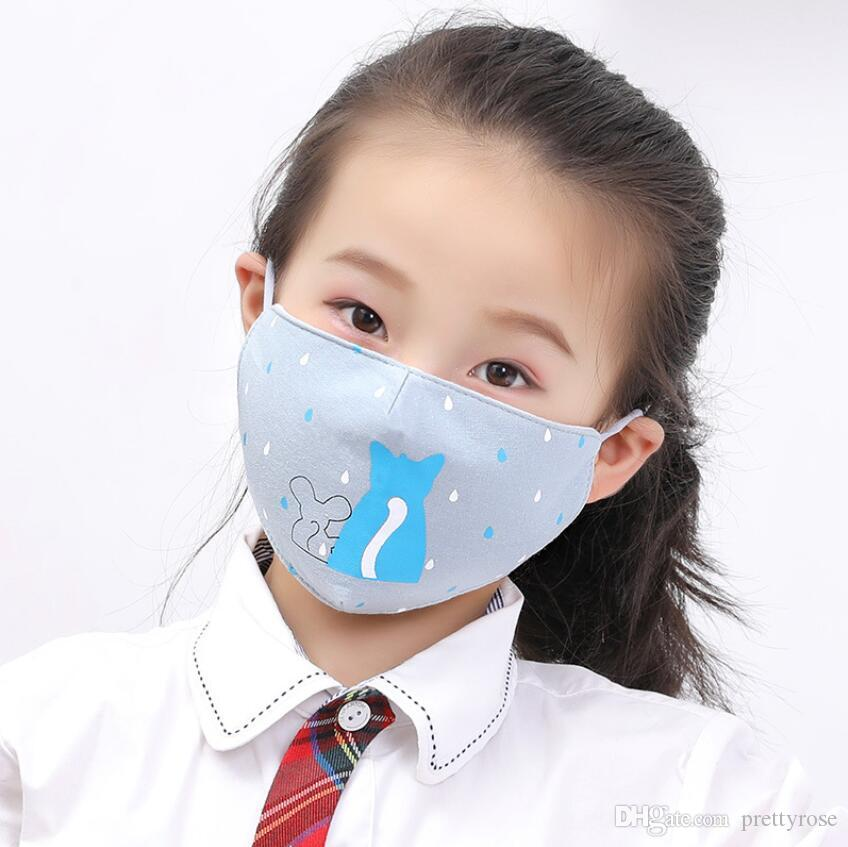 Cartoon 3D Face Mask for Kids Mouth Cover PM2.5 Anti-dust Mouth Mask Respirator Dustproof Anti-bacterial Washable Reusable Print Face Masks