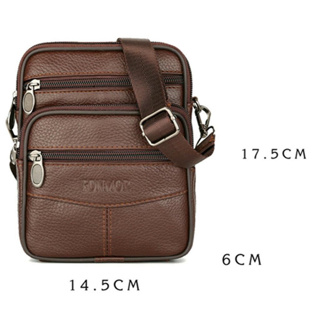 Mens couro genuíno manbag Business Travel Shoulder Bag Womens Handbag Brown