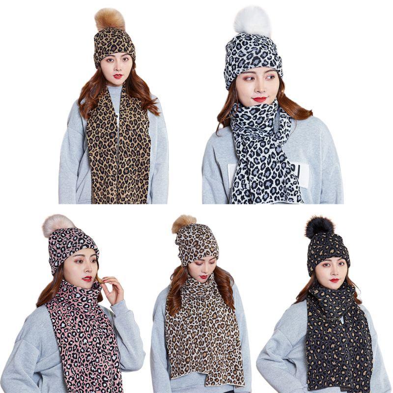 Mulheres Scarf Hat 2pcs Set Leopard Print Cap Beanie Cuffed malha com Long Wraps Y1AC
