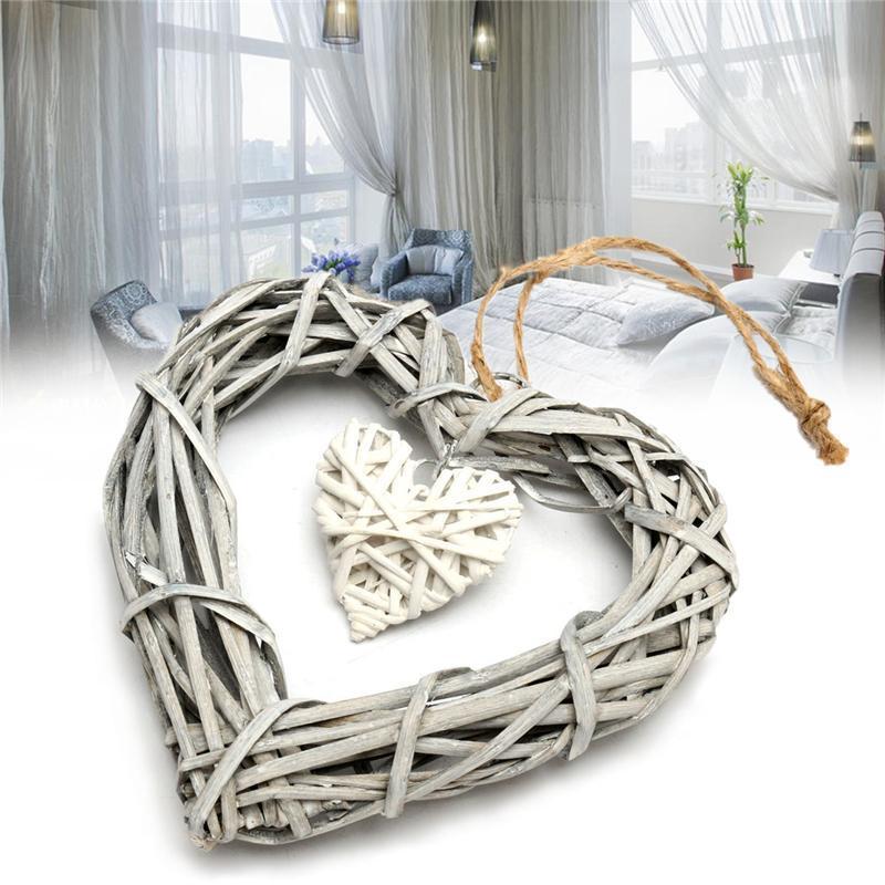 Corazón colgante de mimbre en gris color blanco Corona rota Sepak Takraw Disfraces decoración del hogar del partido fuera de la Florida