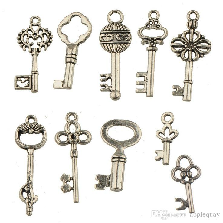 charms jewelry mixes antique silver keys metal vintage new diy fashion jewelry accessories for jewelry bracelets necklaces making 200pcs