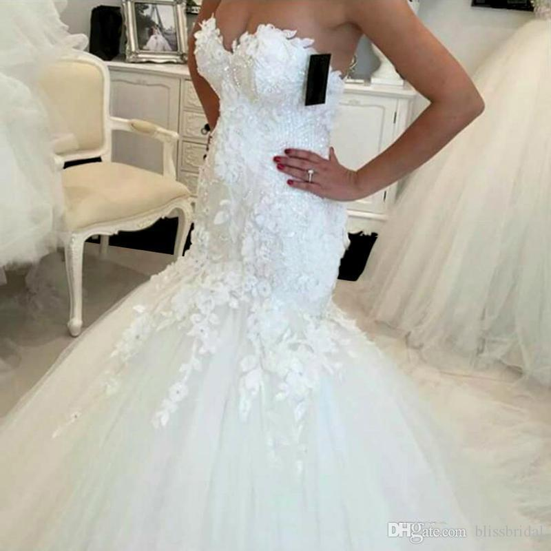 2019 Elegant New Lace Mermaid Wedding Dresses Appliques Sweetheart Bride Zipper Back Tulle Buttom Wedding Gowns