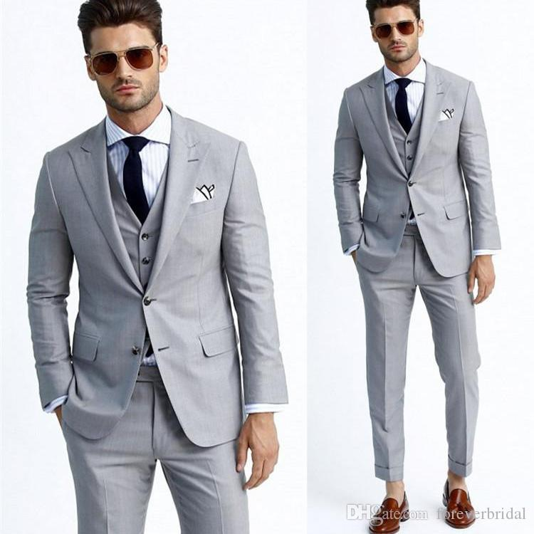 Light Gray Groom Wedding Tuxedos Peaked Lapel Slim Fit Mens Prom Jacket Blazer Suits 3 Piece Custom Made Prom Clothing(Jacket+Vest+Pants)