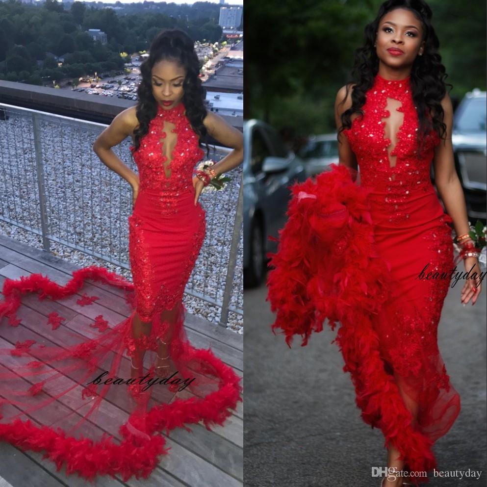 Rote Meerjungfrau-Abschlussballkleider 2021 bescheidene Federn Abendkleid-Party Pageant-Gowns Sonderanlässe Kleid Dubai 2k19 Black Girl Paar Tag