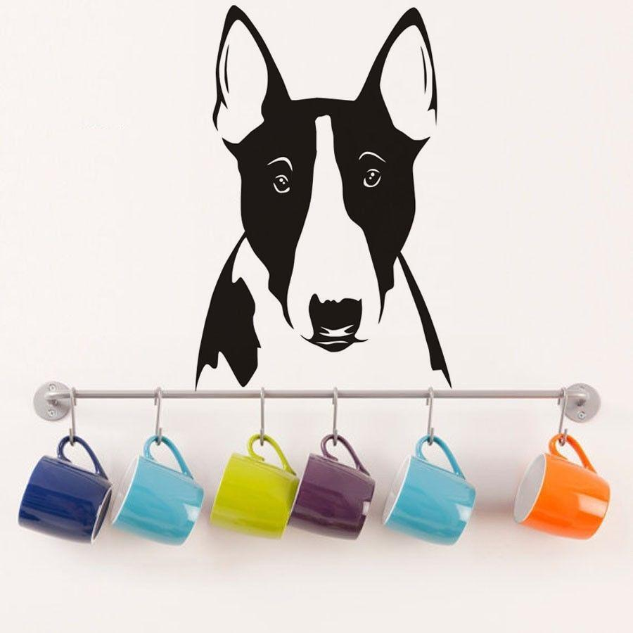 Mural бультерьер портрет стены винила Декаль Симпатичные собаки Голова наклейки декор дома животных стены наклейки для детей Детские