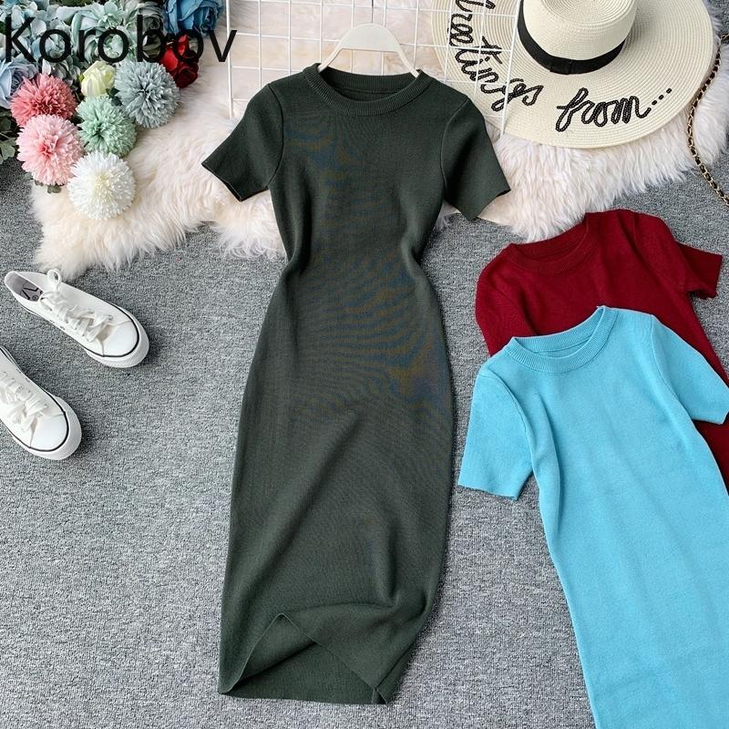 Коробов 2019 Новый Короткие рукава Solid Vintage Женщины платье Корейский Knit Stretch талии элегантные платья O шеи Bodycon Vestidos 78956