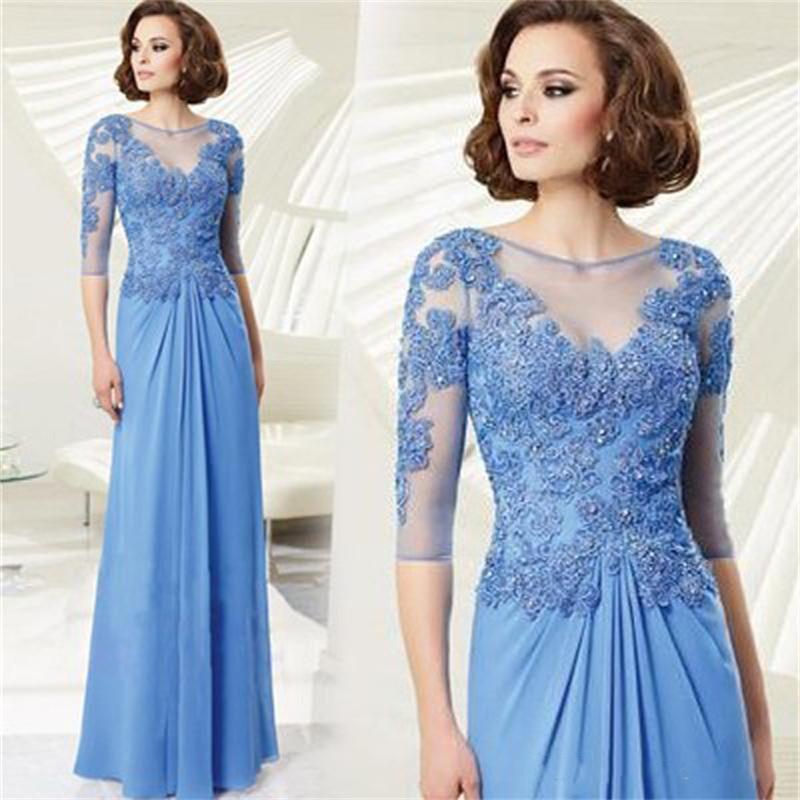 2020 Aplike Dantel Boncuklu Kılıf Anne Gelin Elbise Illusion Jewel Yarım Kollu Akşam Parti Abiye vestidos de fiesta