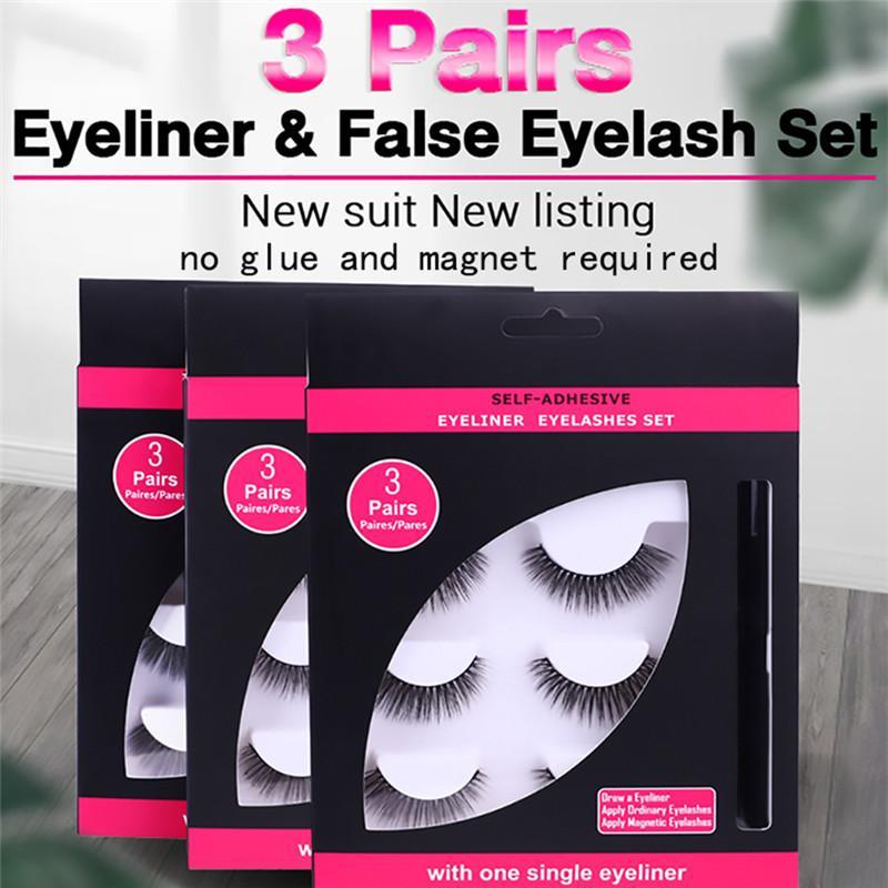 2 Steps Quick 3 Pairs Magic False Eyelash Self-adhesive Lashes Eyeliner Mascara Eyelash Curler Set No Glue No Magnet Eyelash