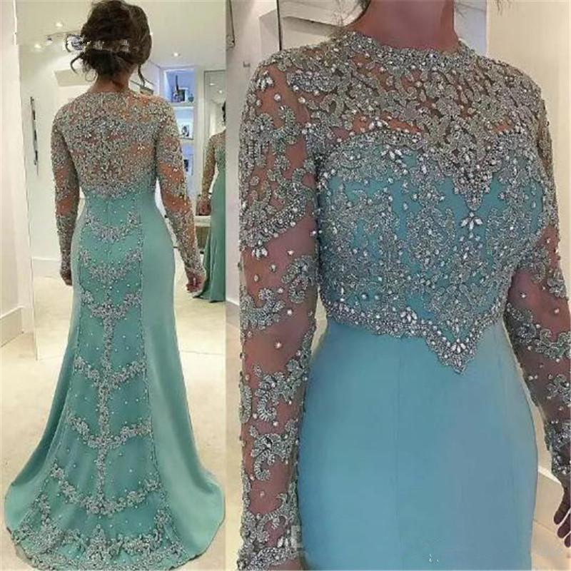 2020 Cheap Mint Green Vintage Sheath Prom Dresses Long Sleeve Beads Long Sleeves Appliqued Evening Party Gown