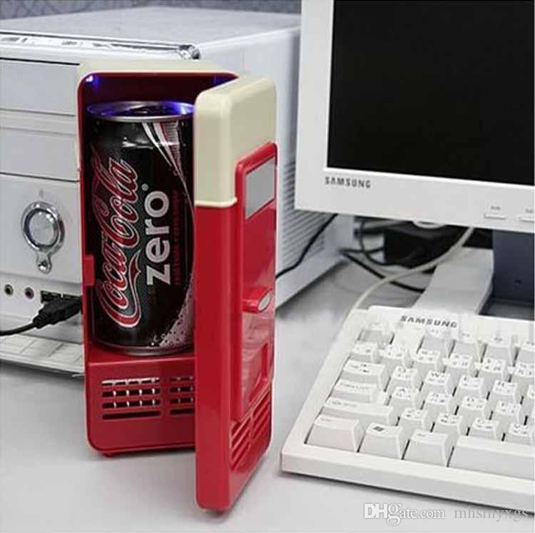 Mini USB Oficina portátil Desktop Frigorífico Estudiantes Dormitorio Congelador Dual Uso Coche Casa Bebida CANS COOPERADOR SERVIDOR FRIGERADOR