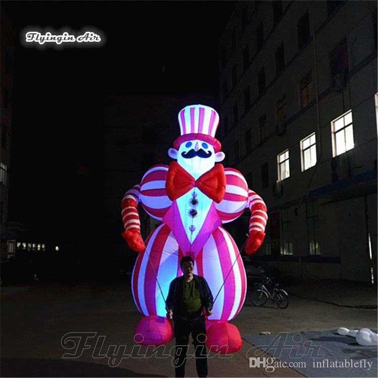 Personalized Walking Inflatable Clown Costume 3.5m Red Lighting Blow Up Clown Suits With Color Changing LED Light For Parade Night Show