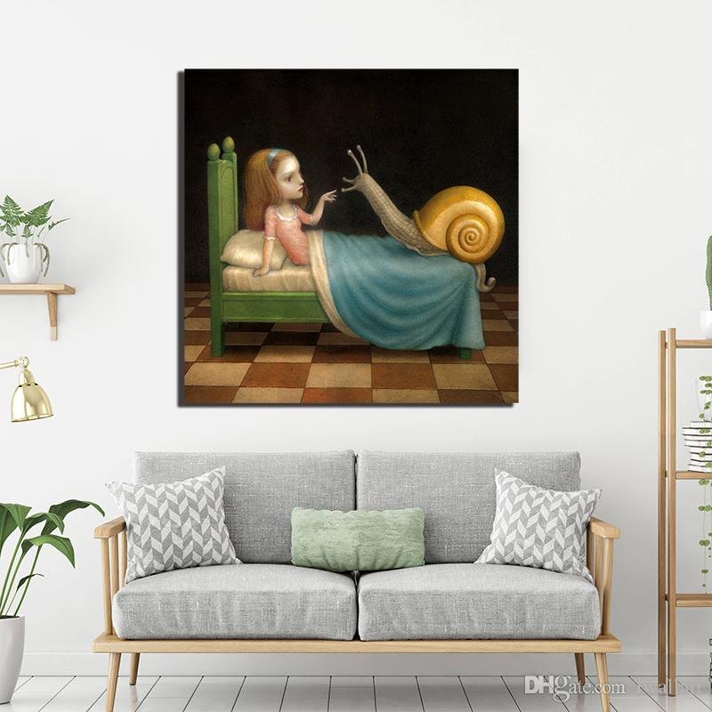 The Girl And Snail Wallpaper Canvas Painting Wall Art Street Poster Print HD Picture for Living Room Home Decor Dropshipping