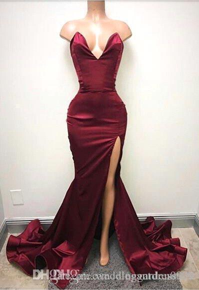 2019 Barato Borgonha Sereia Vestidos de Baile Backless Longo Querida Lado Alto Dividir Vestidos Formais Vestidos de Noite Barato Simples Vestido Personalizado