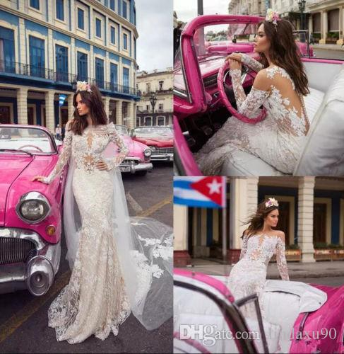 Mermaid Long Sleeve 2019 Lace Wedding Dresses With Cape Appliqued Sweep Train Beach Bridal Gowns Plus Size Tulle Wedding Dress