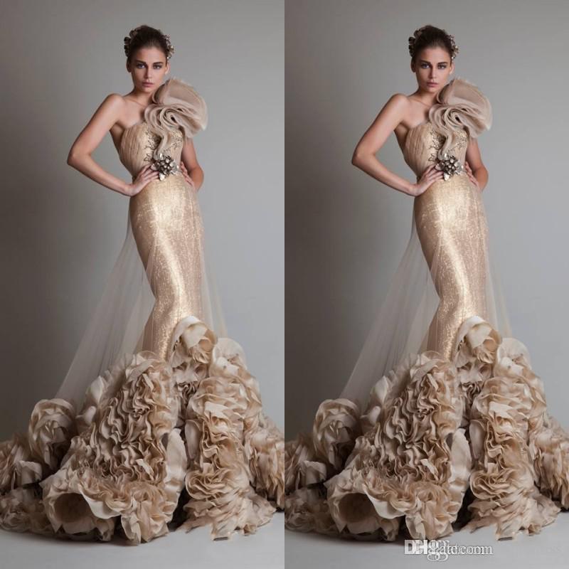 2019 New Luxuriöse Sexy Gold Sleeveless One Shoulder Meerjungfrau Trompete Zuhair Murad Brautkleider Mit Blume Und Schärpe AW266