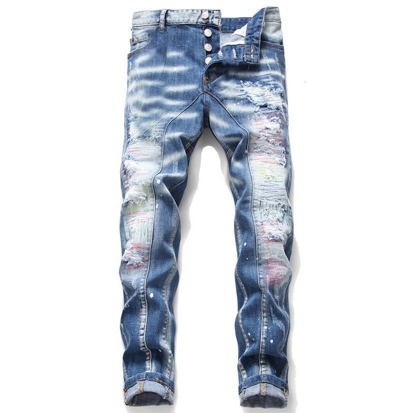 Tops Erkek Slim Fit Skinny Açık Mavi Jeans Moda Hip Hop Biker Pantolon 1047 panelli Motosiklet Kot Pantolon Yıkanmış Ripped