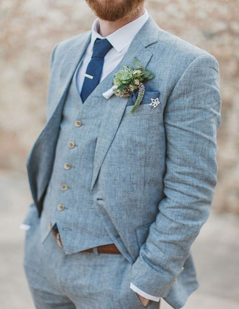 새로운 최신 코트 바지 디자인 라이트 블루 린넨 웨딩 정장 비치 Terno 슬림 맞춤 신랑 사용자 정의 3 개 턱시도 정장 Vestidos