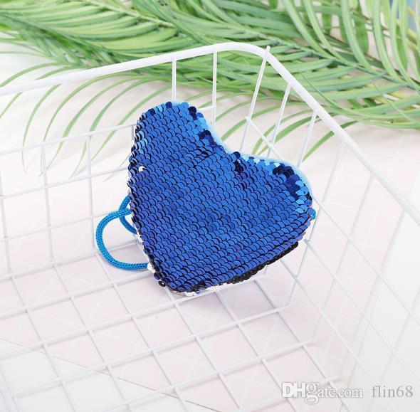 Pequeno Mini Rainbow Heart reversível sereia sequin com zíper carteira de mudança de cor bolsa de flip bolsa de moedas com corrente