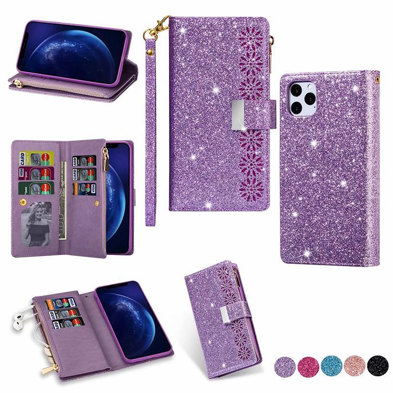 Multifonction Glitter Wallet Card Bling Fermeture à glissière fente en cuir pour iPhone 11 pro max XR XS MAX 6 7 8 PLUS SE 2020