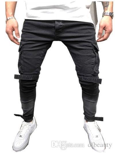 Moda Preto Grande Bolso dos homens Designer de Jeans Stretch Hip Hop Legal Streetwear Motociclista Remendo Buraco Rasgado Skinny Jeans Slim Fit Calças Lápis