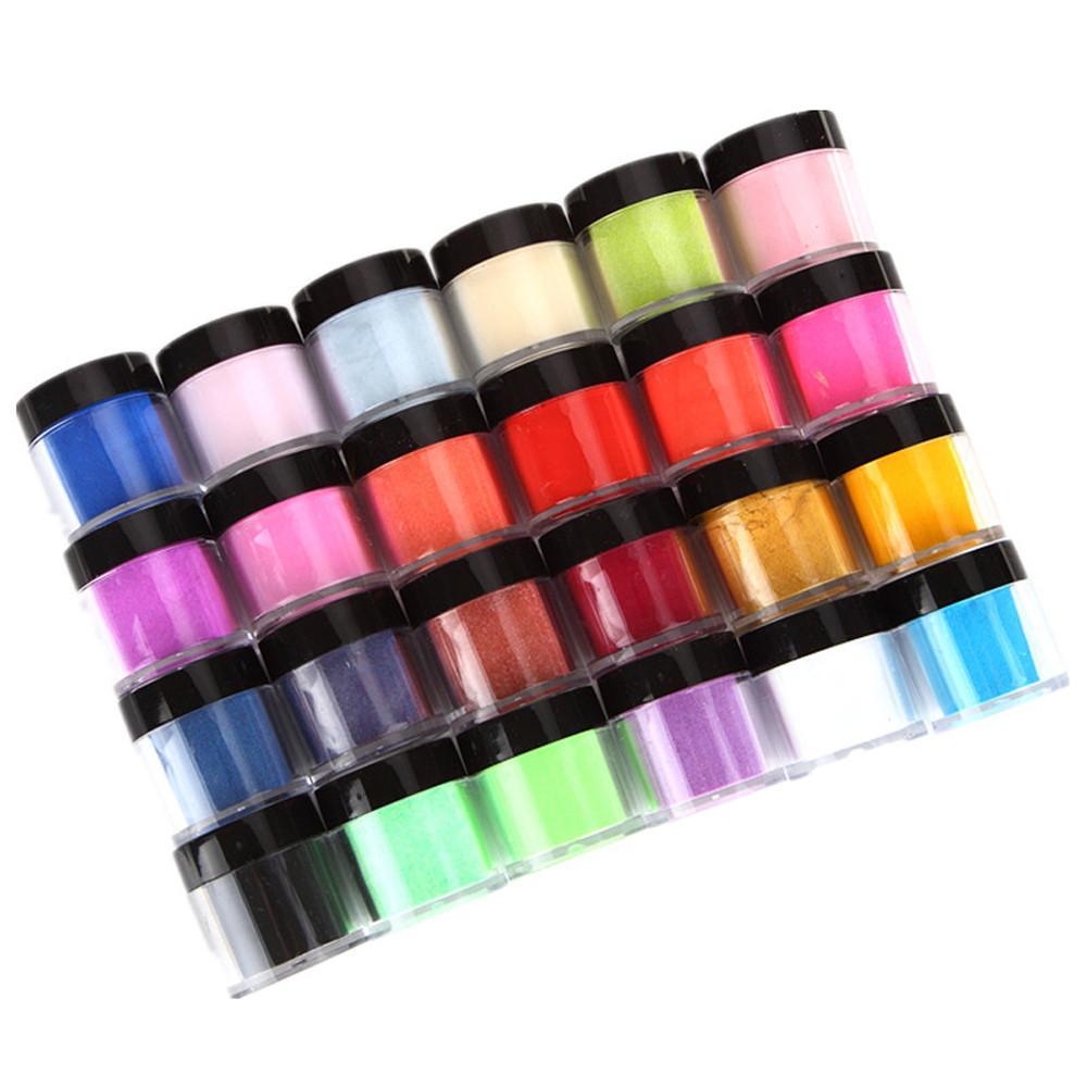 US Warehouse Neue Professionelle 24 Farben Acryl Nail art Tipps UV Gel Carving Pulver Staub Design Dekoration 3D DIY Dekoration Set