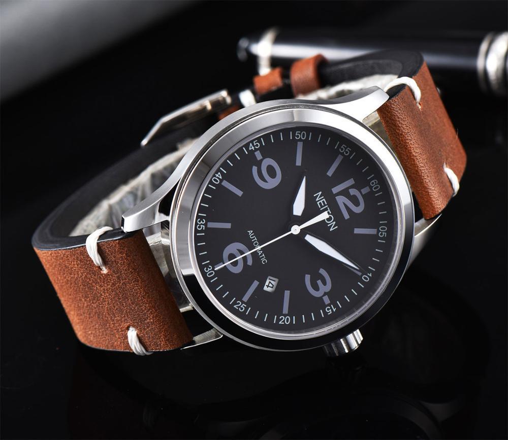 Neiton 42мм сапфировое черный циферблат Мужские стро бренда кожа Автоматическое движение Мужские часы