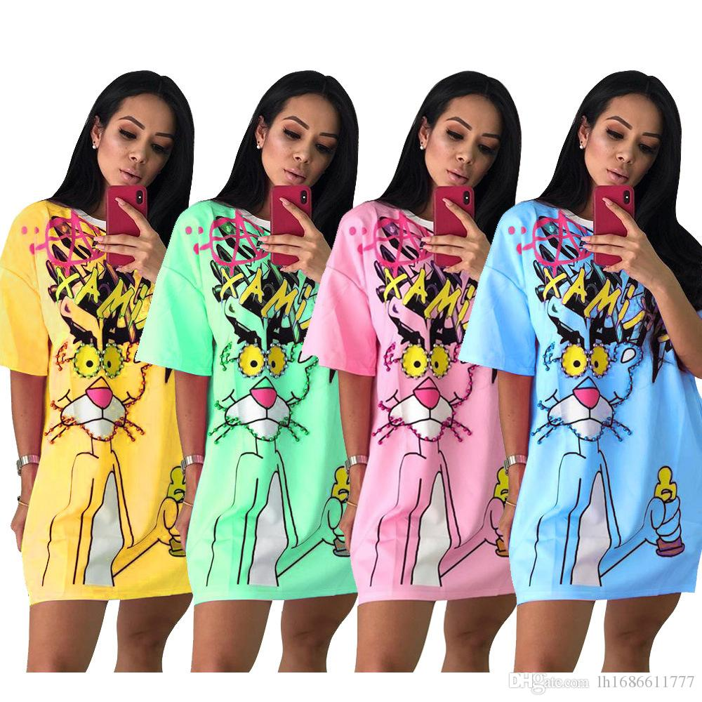 neue Frauen Oansatz halben Hülse Karikaturdruck Sicken Vintage-T-Tops über Knie dünne beiläufige T-Shirt Kleider Fashion Party Minikleid dresss