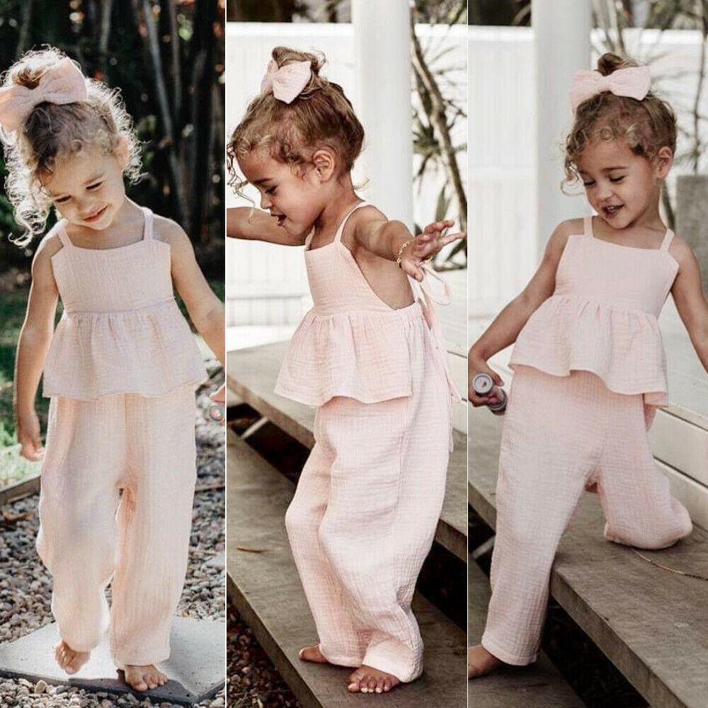 Bebek Kız Bebek Giyim Yaz fırfır bandajlı Romper uzun pantolon Tulumlar Katı Backless Kıyafet Suit Çocuk Kız