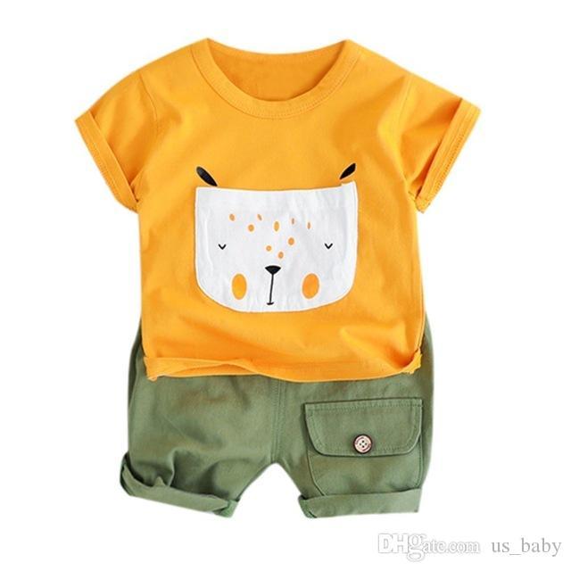 Toddler Cartoon Dog Outfit Kids Boys Cotton Short Sleeve Tops & Shorts Set Cute Infant Boy 2pcs Clothes