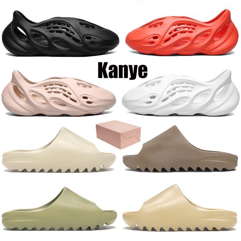 2020 kanye Terlik Erkekler Kadınlar Kemik Toprak Kahverengi Çölde Kum Slayt Reçine stilist ayakkabı Sandalet üçlü siyah Köpük Runner EUR 5-11