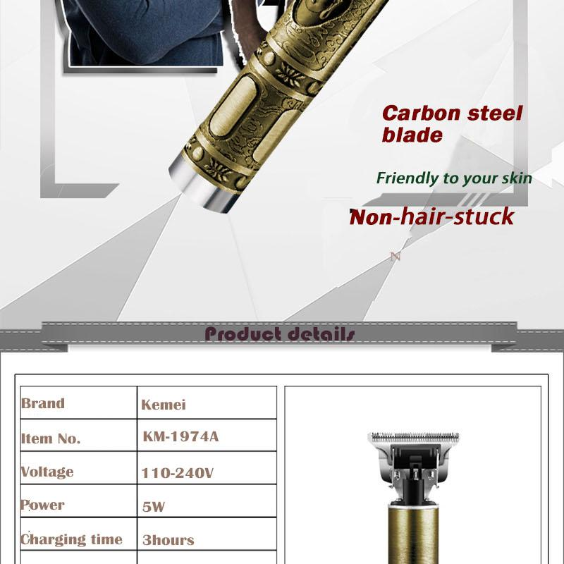 Kemei Saç Kesme Elektrikli Saç Kesme berber Şarjlı 0mm T-bıçak VwSft sqtrimmer Saç Kesici KM-1974a tamamlanması kontür baldheaded