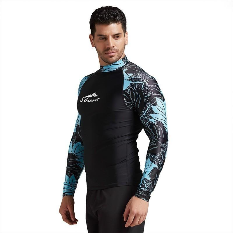 Цветочный Rash Guard Мужчина Lycra Surf Rashguard с длинным рукавом Купальников Swim рубашка UV тенниска для купания Парусного Дайвинга Спортивной одежды