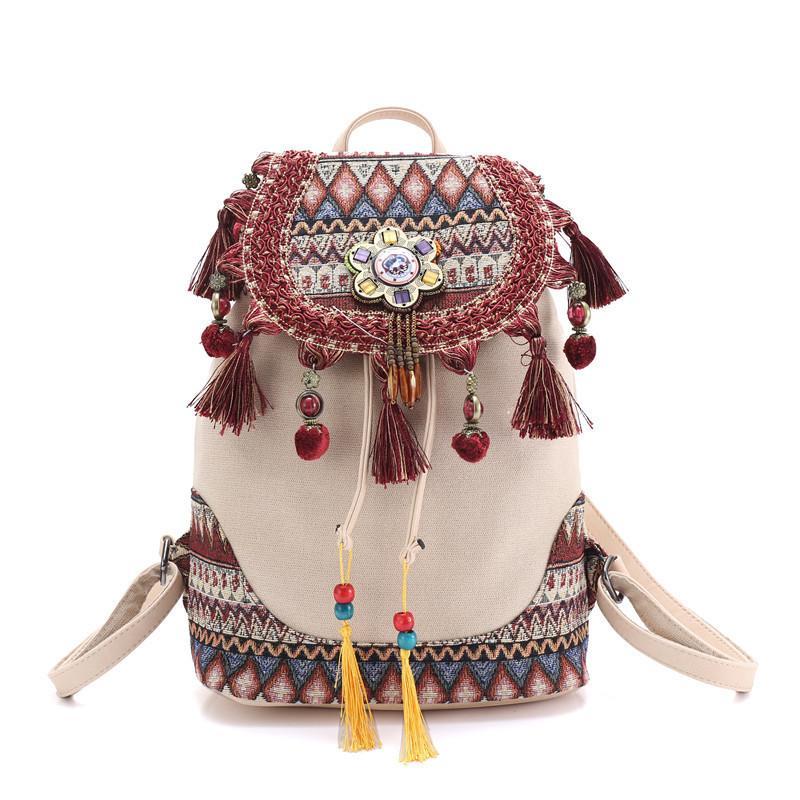 Rucksack Für Frauen Böhmischen Stil Hippie Boho Vintage Damen Leinwand Quaste Umhängetasche Baumwollgewebe Tasche Ethnische Taschen Rucksack Y19061102