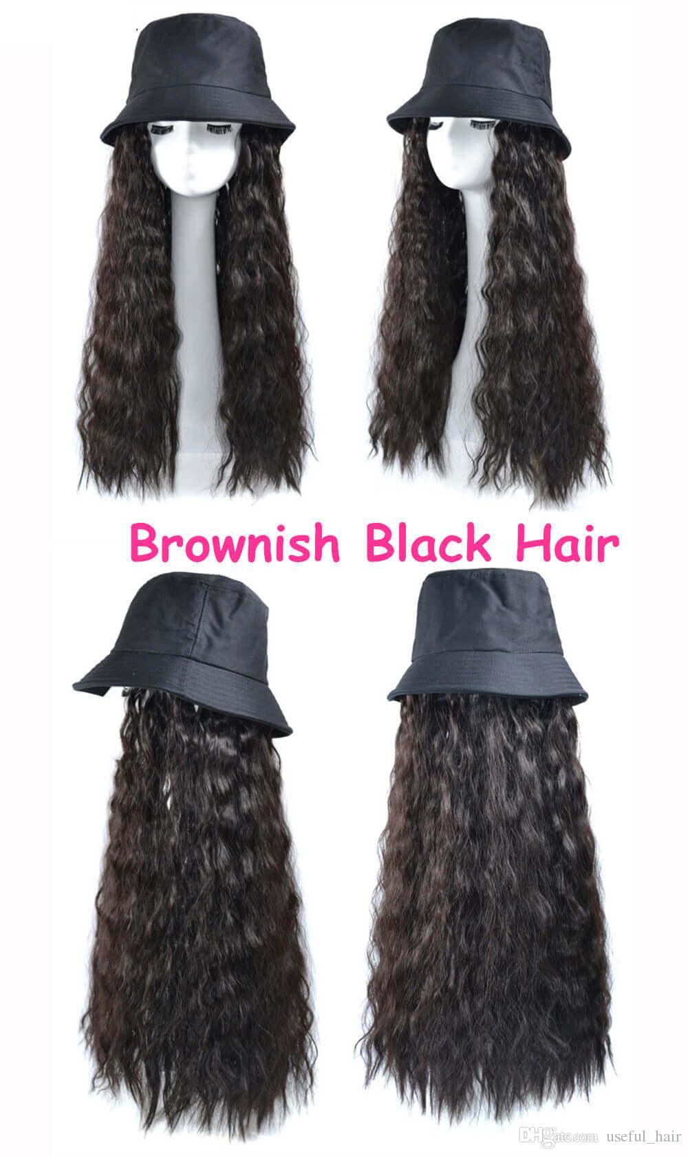 зима теплая шерсть вязать шапка волос крючком косички волос парики кудрявый фигурные Синтетический Марли шляпа шапка шляпа Все-в-одном парики Плетение шерсть легко носить
