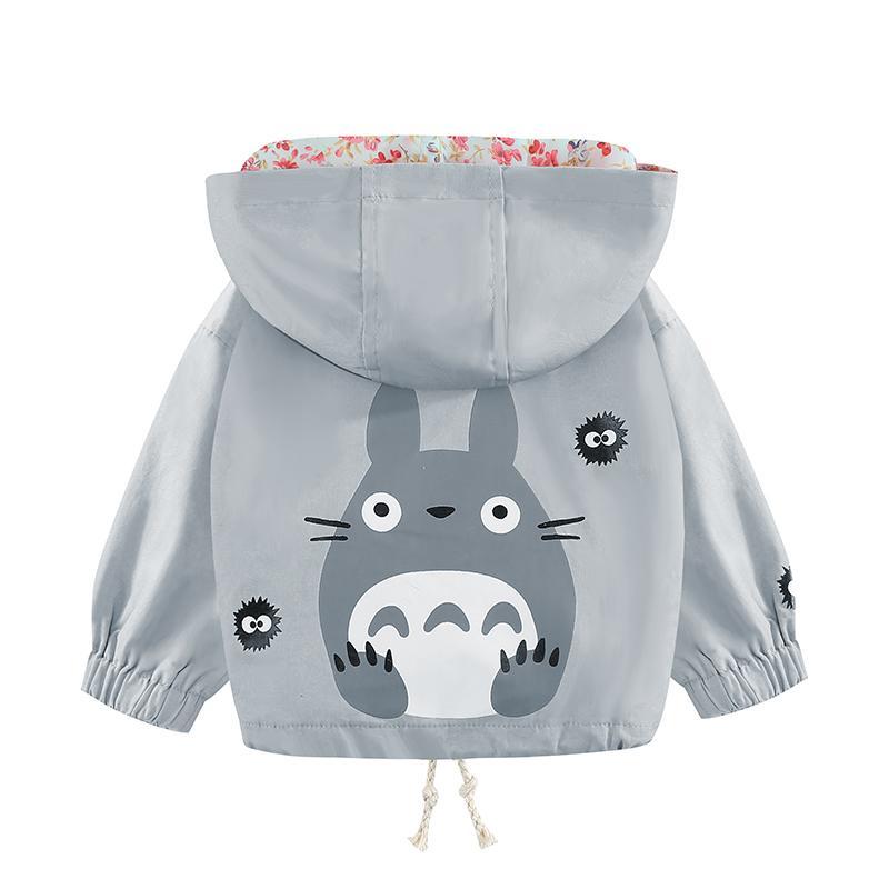 1 2 3 4 Years Fashion Baby Boy Girl Totoroll Cartoon Jacket Spring Autumn Flower Hooded Sport Windbreaker Coat Children Clothing