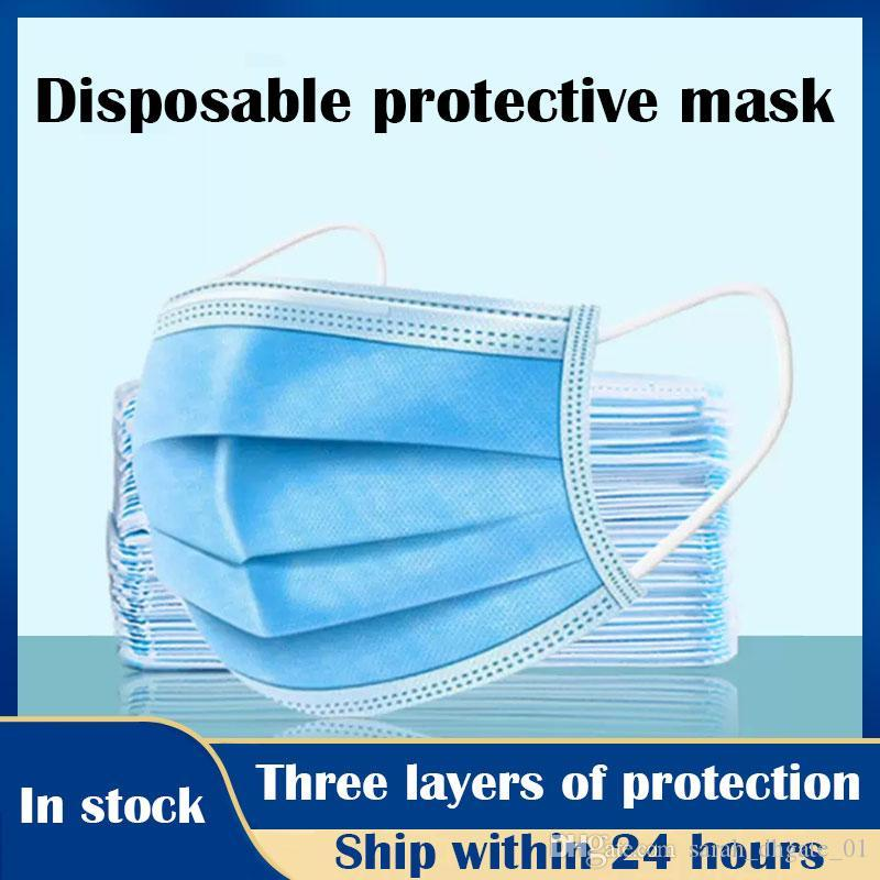 Stock! Free DHL Delivery immediately Disposable Face Masks with Elastic Ear Loop 3 Ply Breathable for Blocking Dust Air Anti-Pollution Mask