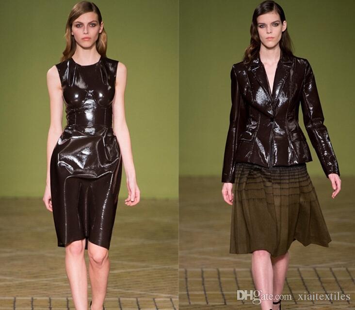 Bright Black metallic PU leather fabric dress coat patent mirror dance waterproof diy textiles elastic tissu cloth fabric C937