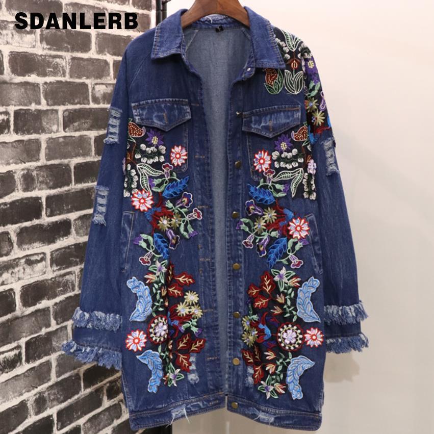Весенняя и осенняя джинсовая куртка 2019 года Тяжелая промышленность Вышивка Цветы Отмытая длинная свободная джинсовая куртка