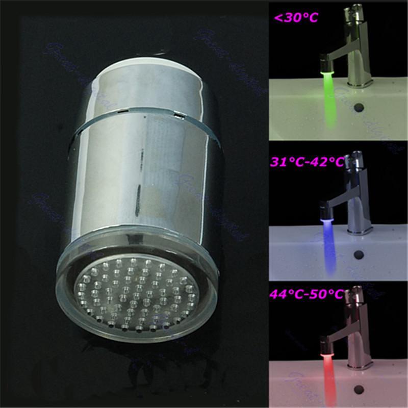 3 اللون LED الوهج الحمام درجة الحرارة بالوعة حوض صنبور المياه استشعار الضوء الحنفية C42