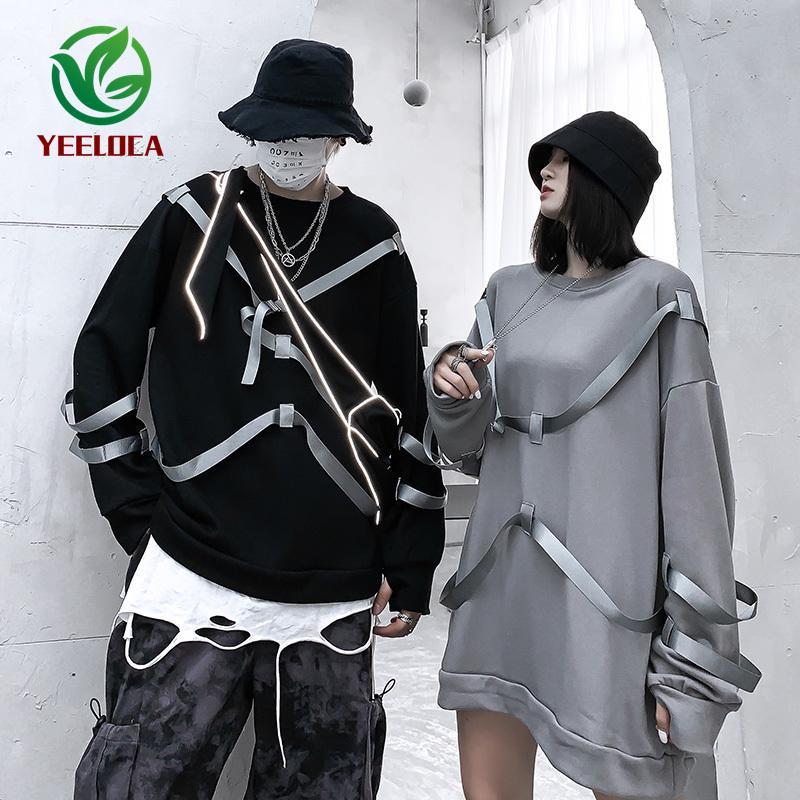2019 Autumn Round Neck Streamers Long-sleeved Shirt Hip-hop Couple Unisex Oversized Personality Fashion Cotton Sweatshirt
