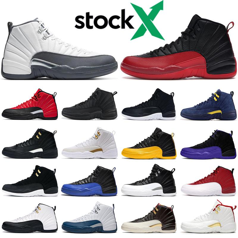 Mens basketball shoes 12s trainers Flu Game Dark Concord grey Reverse Taxi Game Royal The Master White 12 men athletic sports sneakers