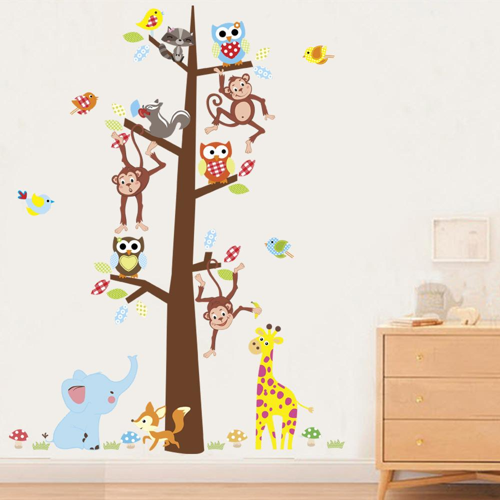 Wall Stickers Home Wall Decor Cartoon Animals Kids Room Bedroom Decoration DIY Forest Monkeys Poster Mural Wallpaper Wall Decals