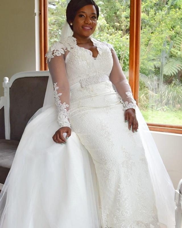 Nueva llegada vestidos de boda de la sirena con falda desmontable manga larga de encaje más el tamaño de vestido de novia Vestidos de novia Vestidos de boda sirène