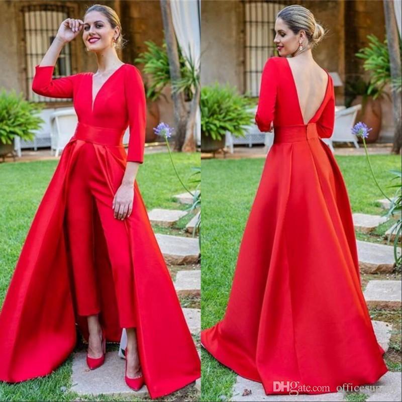 2019 Elegante rote Abendkleider mit abnehmbarem Zuge V-Ausschnitt mit langen Ärmeln Backless Gewohnheit Jumpsuits Frauen formalen Abschlussball-Partei-Kleid