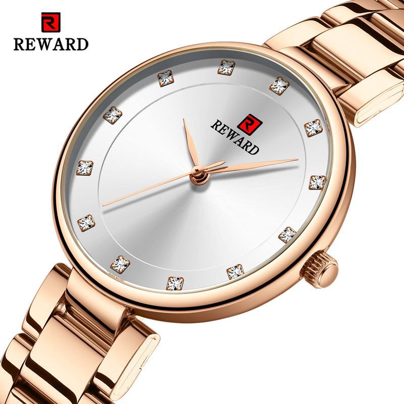 SCHATZ Art und Weise Frauen Uhr-Spitzenmarken-Edelstahl-Bügel-Armbanduhr-Rose Gold Uhr Female Quarz Damenuhr Verschenken Ehefrau Mädchen-Geschenk