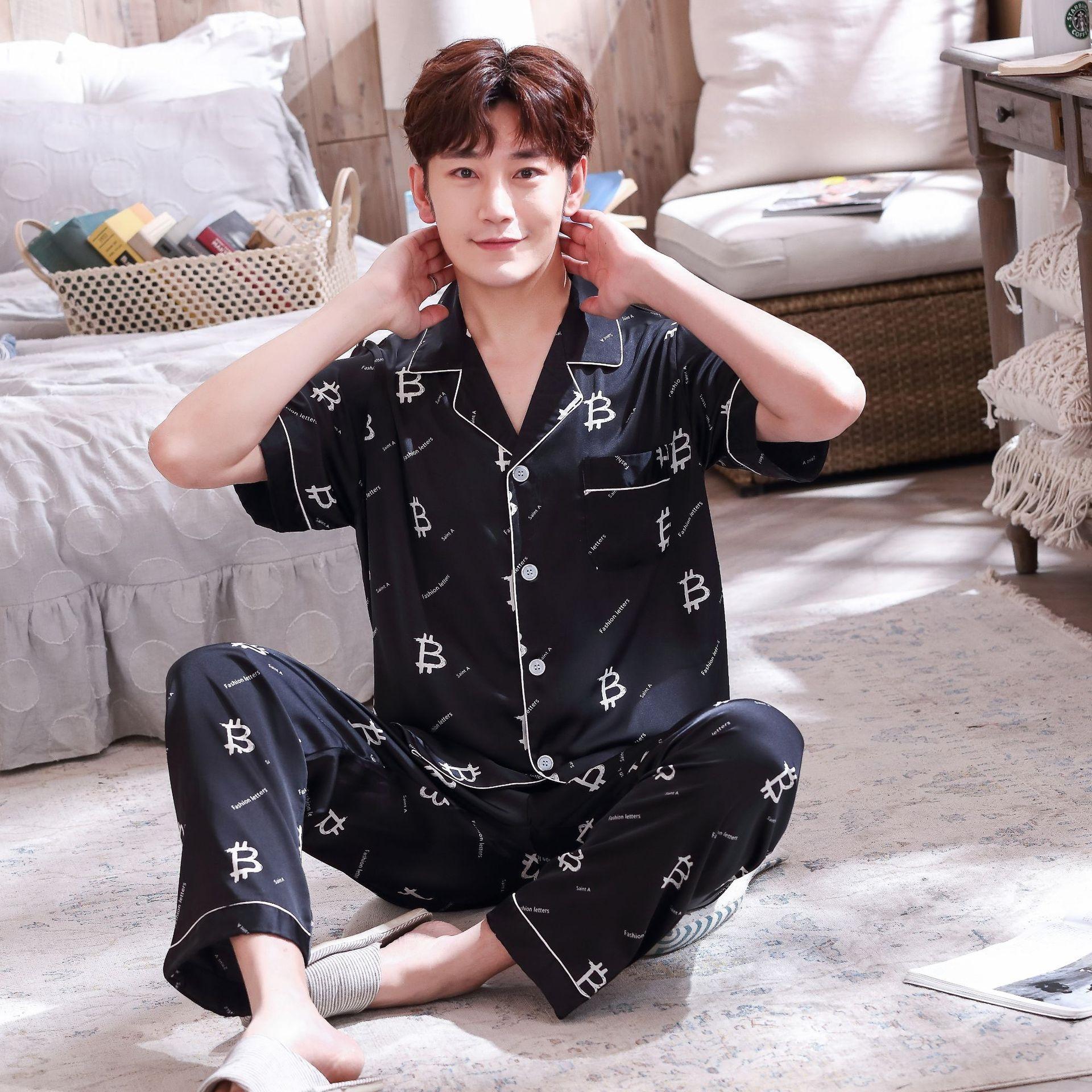 FVmyX 1Yha8 Пара летних моделирования пижама с короткими рукавами брюки женской крупных мужской размером одежда имитируемых Шелкового Главной Ice Шелкового костюм Home S