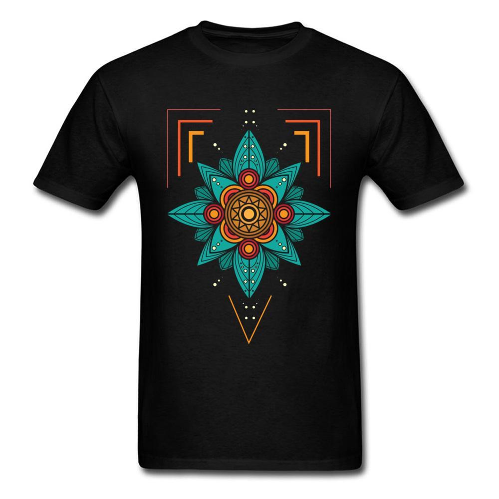 기하학적 만다라 티셔츠 맨 남성 티셔츠 남성 힙합 티즈 티셔츠 오목모 어머니의 날 100 % 코튼 디자인 의류