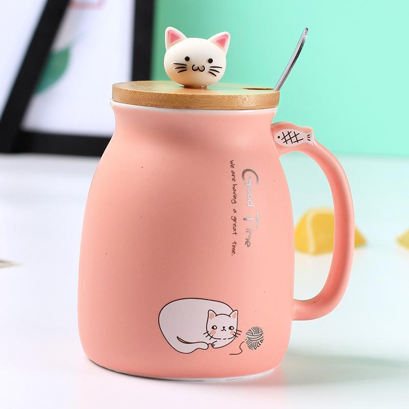 2019 450ml cartoon cat ceramic cup Japanese creative coffee mug with lid with spoon cup cute girls gifts