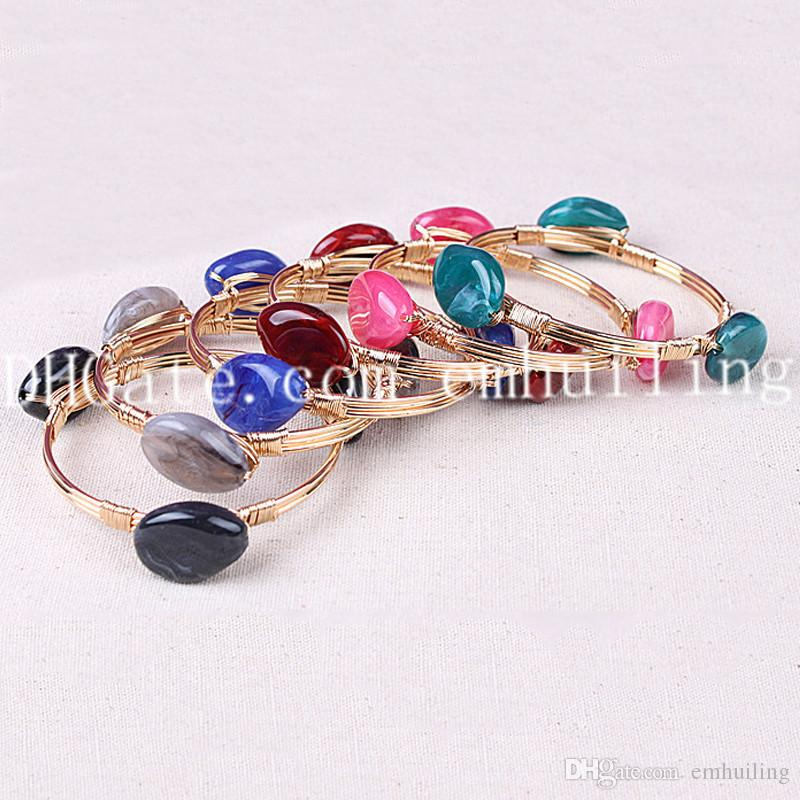 10pcs Wholesale Mixed Random Color Three Tumbled Agate Beads on One Bangle Handmade Boho Inspired Wire Wrapped Cuff Bangle for Men and Women