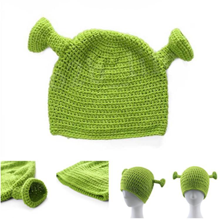 Shrek's Woollen yarn Cap Knit Green Monster Skullies Hat Creative Strange Pure Handmade Knitted Cap Novelty Halloween Gift Hat T9C00116